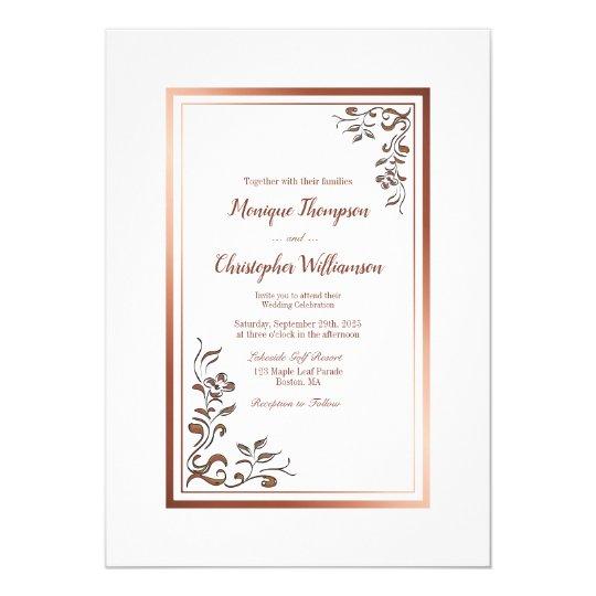 Elegant Rose Gold Border Simple Floral Wedding Invitation | Zazzle.com