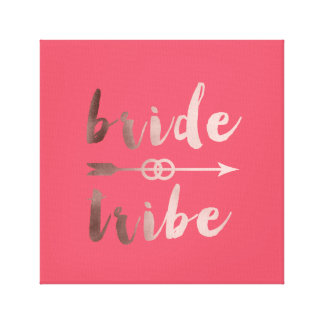 elegant rose gold bride tribe arrow wedding rings canvas print
