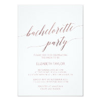 Elegant Rose Gold Calligraphy Bachelorette Party Invitation