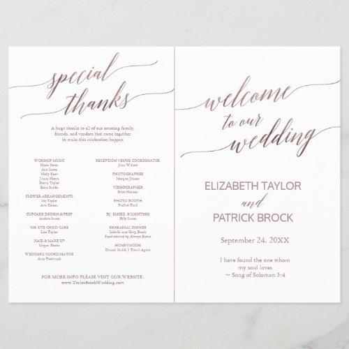 Elegant Rose Gold Calligraphy Folded Full Program