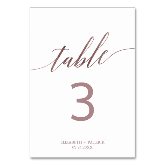 Elegant Rose Gold Calligraphy Table Number