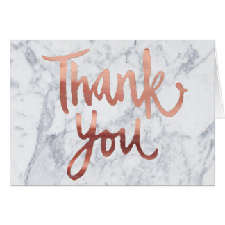 Rose gold greeting cards zazzle Thank you in calligraphy writing