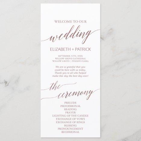 Elegant Rose Gold Calligraphy Wedding Program