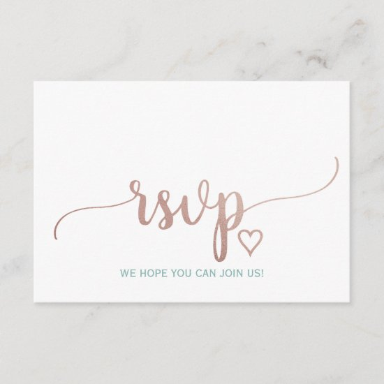 Elegant Rose Gold Calligraphy Wedding Website RSVP