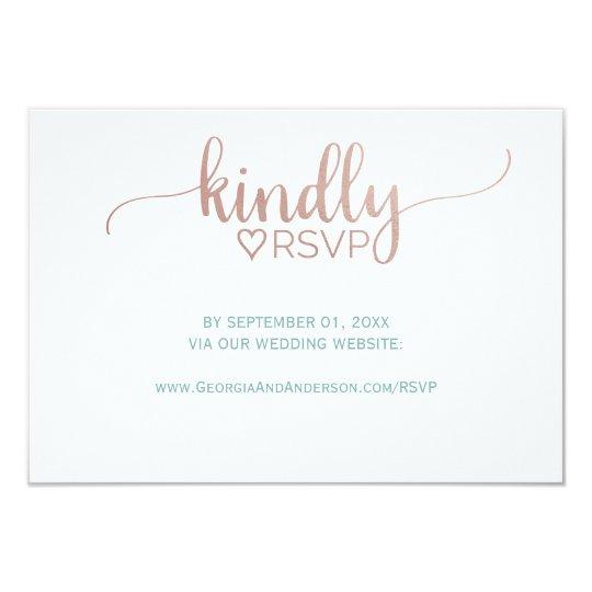 Wedding Invitation Website: Elegant Rose Gold Calligraphy Wedding Website RSVP