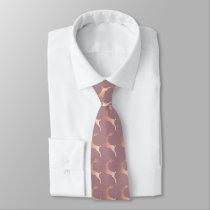 Elegant Rose Gold Christmas Reindeer Pattern Neck Tie