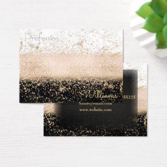 Elegant rose gold confetti marble design business card