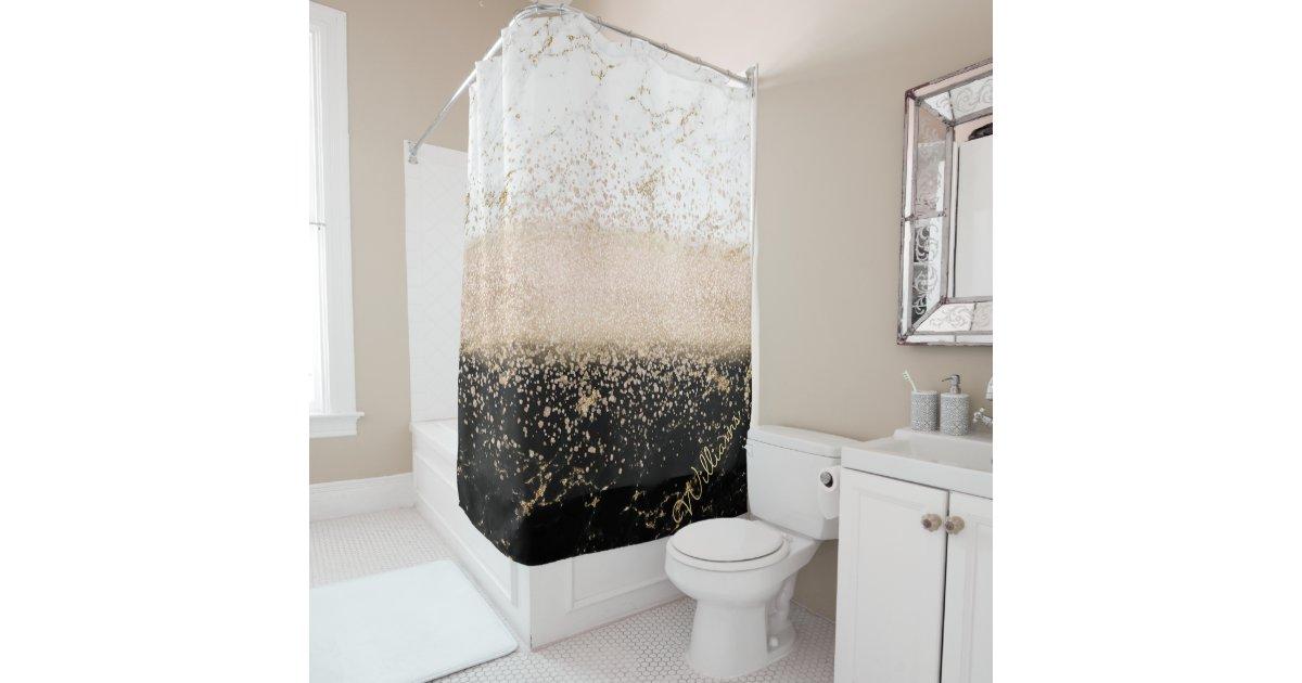 Elegant Rose Gold Confetti Marble Design Shower Curtain