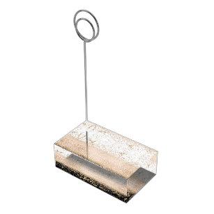 Elegant rose gold confetti marble design table number holder