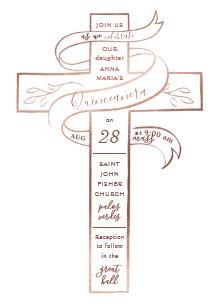 Elegant Rose Gold Cross Ribbon Quinceanera Card
