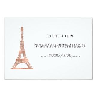 Elegant Rose Gold Eiffel Tower Wedding Reception Card