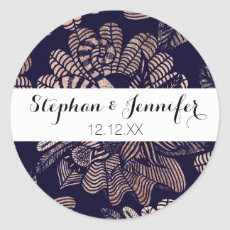 Elegant Rose Gold Floral Drawings on Navy Blue Classic Round Sticker
