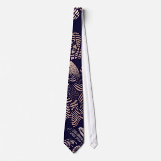 Elegant Rose Gold Floral Drawings on Navy Blue Tie
