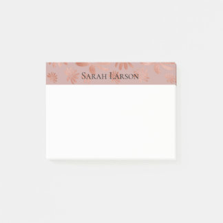 Elegant Rose Gold Floral Personalized Post-it Notes