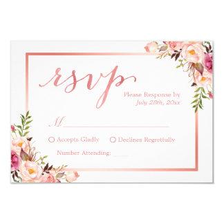 Elegant Rose Gold Floral Wedding RSVP Reply Card
