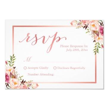 CardHunter Elegant Rose Gold Floral Wedding RSVP Reply Card