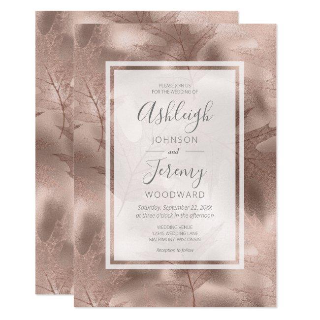 Elegant Rose Gold Foil Autumn Leaf Pattern Wedding Invitation