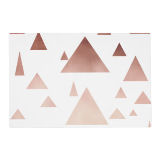 elegant rose gold foil geometric triangles placemat