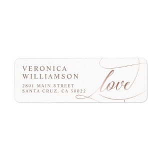 Elegant Rose Gold Foil Love Script Wedding Label
