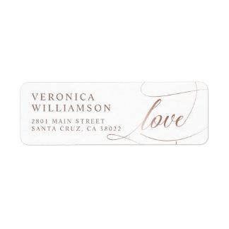 Elegant Rose Gold Foil Love Script Wedding Label