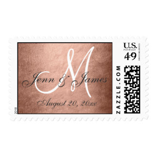 Elegant Rose Gold Foil Monogram Save the Date Postage