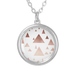 elegant rose gold geometric triangles pattern silver plated necklace