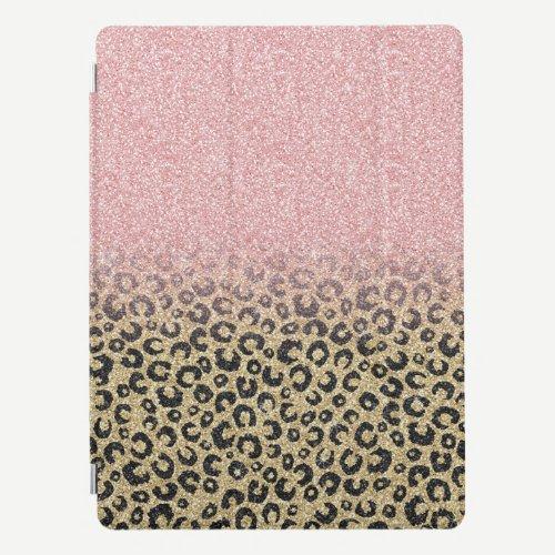 Elegant Rose Gold Glitter Black Leopard Print iPad Pro Cover