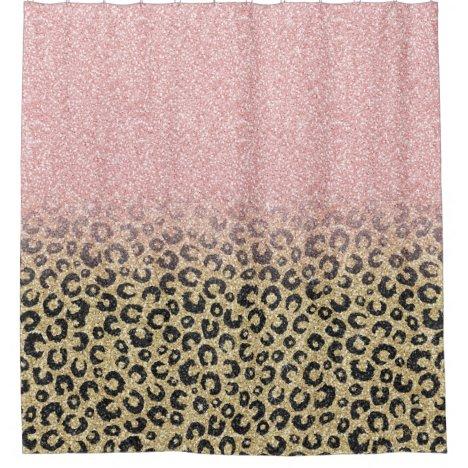 Elegant Rose Gold Glitter Black Leopard Print Shower Curtain