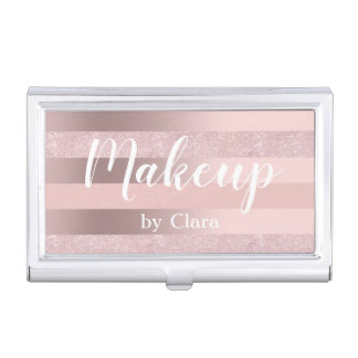 Elegant rose gold glitter & blush pink stripe business card case