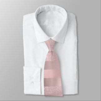 Elegant rose gold glitter & blush pink stripe neck tie