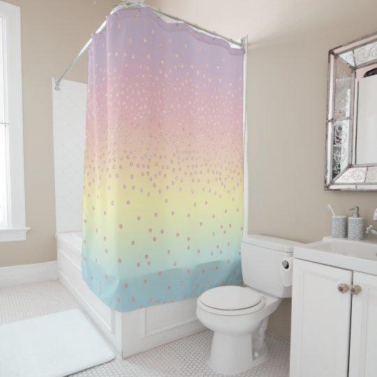 Elegant Rose Gold Glitter Confetti Dots Gradient Shower Curtain
