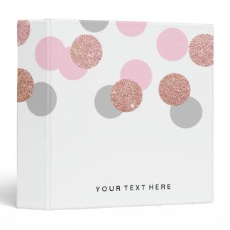 elegant rose gold glitter pastel pink confetti 3 ring binder