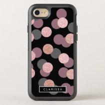 elegant rose gold glitter pastel pink confetti OtterBox symmetry iPhone 8/7 case