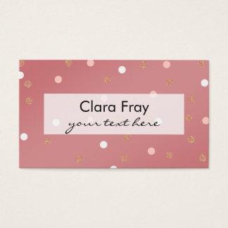 elegant rose gold glitter pink polka dots pattern business card
