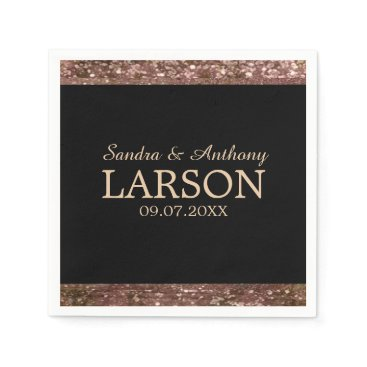Bride Themed Elegant Rose Gold Glitter Wedding Napkin