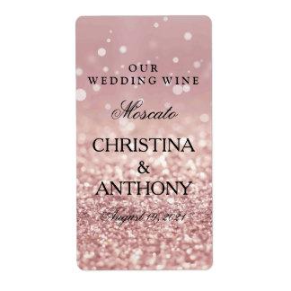Elegant Rose Gold Glitter Wedding Wine Label