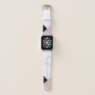 Elegant rose gold glitter white black marble apple watch band
