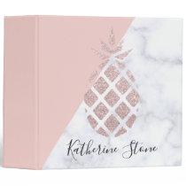 Elegant rose gold glitter white marble blush pink 3 ring binder