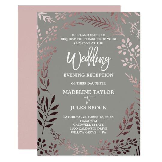 Elegant Rose Gold Gray Wedding Evening Reception Invitation