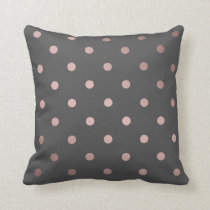 elegant rose gold grey polka dots pattern throw pillow