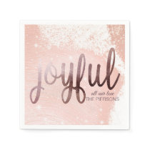 Elegant Rose Gold Joyful Christmas Napkin