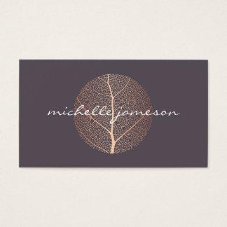 Elegant Rose Gold Leaf Logo Business Card