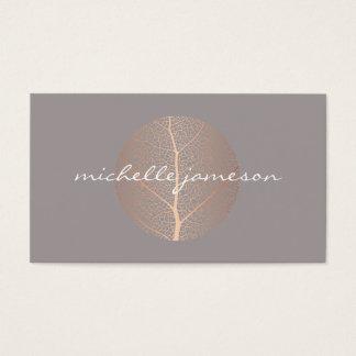 Elegant Rose Gold Leaf Logo on Gray Business Card