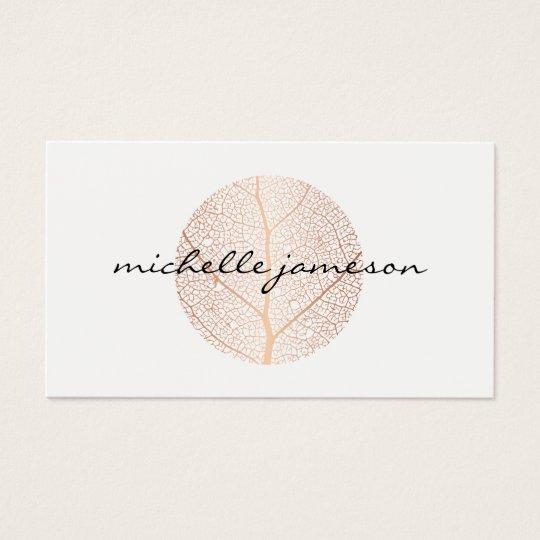 Elegant rose gold leaf logo on white business card zazzle elegant rose gold leaf logo on white business card colourmoves