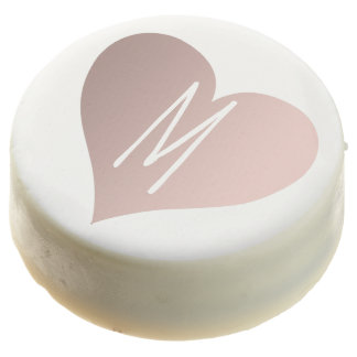 elegant rose gold love heart wedding monogram chocolate covered oreo