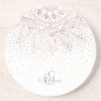 Elegant rose gold mandala confetti design drink coaster