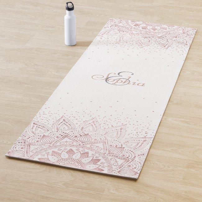 Elegant rose gold mandala confetti design yoga mat