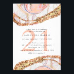 """Elegant Rose Gold Marble 21st Birthday Party Invitation<br><div class=""""desc"""">Elegant and modern marble 21st birthday party invitation features marble texture in soft shades of pink and rose gold,  with gold glitter borders.  Personalize with your birthday details in elegant black lettering.</div>"""