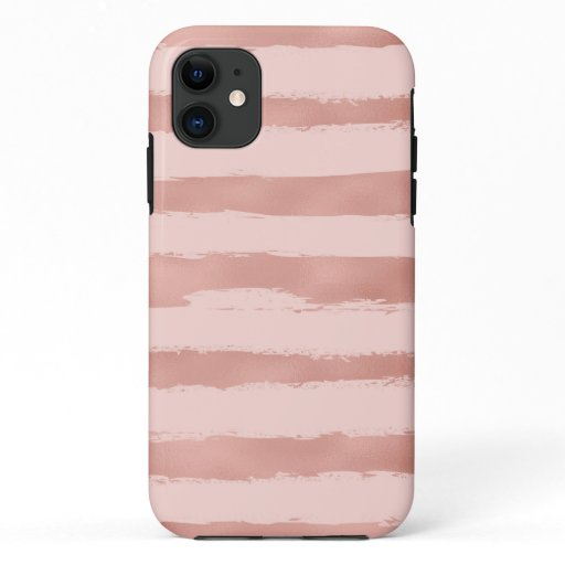 Elegant  Rose Gold Metallic Handpainted Stripes iPhone 11 Case