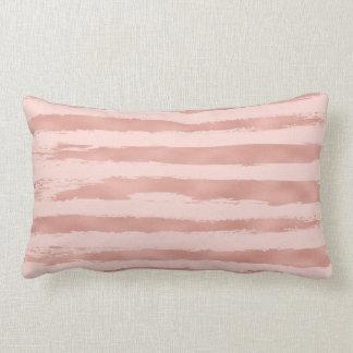 Elegant Rose Gold Metallic Handpainted Stripes Lumbar Pillow